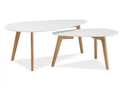 Set konferenčních stolků, bílá / dub, MILAN L2