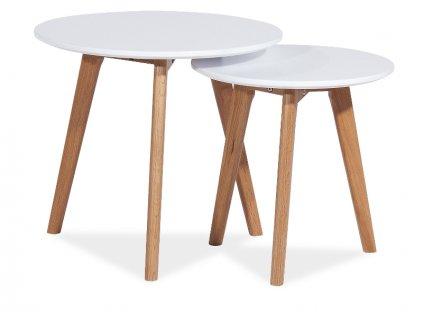 Set příručních stolků, bílá / dub, MILAN S2