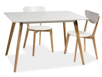 Jídelní stůl, bílá / dub, MILAN 120x80