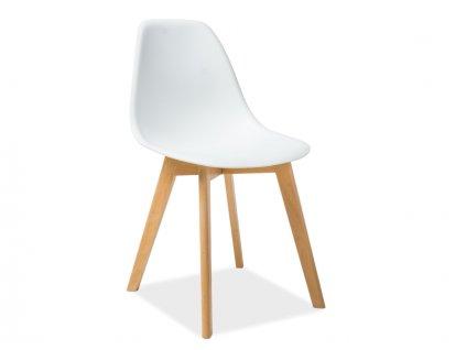Bílá židle s bukovými nohami MORIS