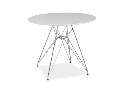 Jídelní stůl, bílá / chrom, NITRO 90X90