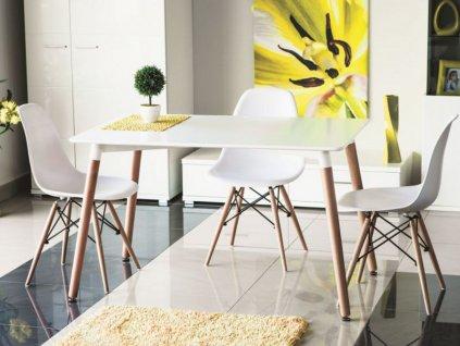 Jídelní stůl, bílá / buk, NOLAN 120x80