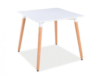 Jídelní stůl, bílá / buk, NOLAN II 80x80
