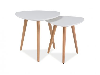 Set příručních stolků, bílá / buk, NOLAN A
