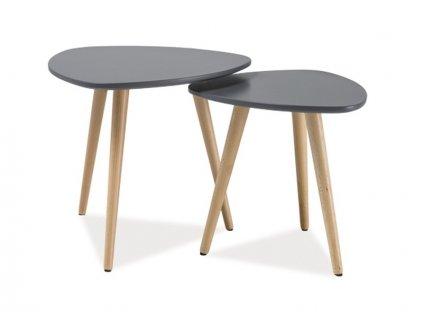 Set příručních stolků, šedá / buk, NOLAN A