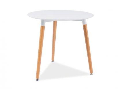 Jídelní stůl, bílá / buk, NOLAN III 80X80