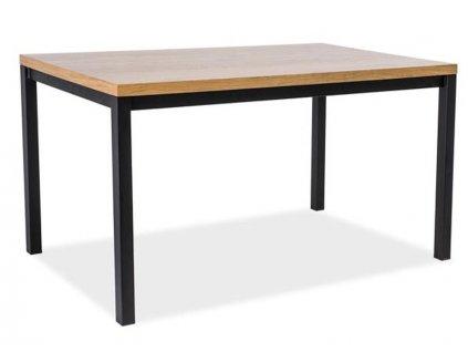 Černý jídelní stůl s dubovou deskou NORMANO 120x80