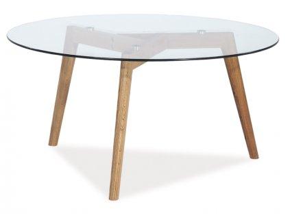 Konferenční stolek, sklo / dub, OSLO L2 80X80