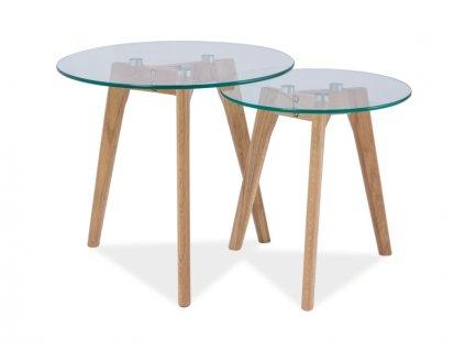 Set příručních stolků, sklo / dub, OSLO S2