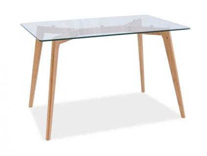 Jídelní stůl, transparentní / dub, OSLO 120x80