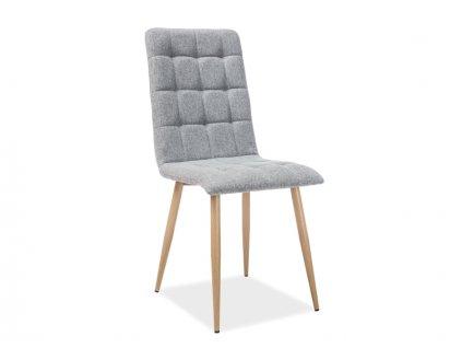 Světle šedá židle s dubovými nohami OTTO