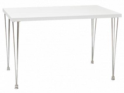 Jídelní stůl, bílá / chrom, PAULO 120X76