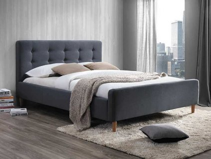 Čalouněná postel, šedá, PINKO 160X200