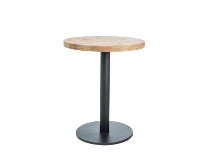 Černý jídelní stůl s dubovou deskou PURO II fi 70