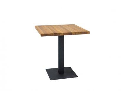 Jídelní stůl, přírodní dub / černá, PURO 80x80