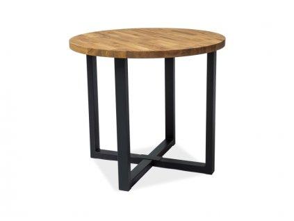 Černý jídelní stůl  s dubovou deskou ROLF fi 90