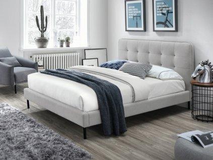 Čalouněná postel, šedá/černá, SALLY 160X200