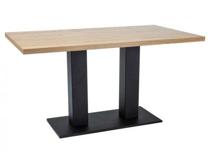 Černý jídelní stůl s dubovou deskou SAURON 180x90