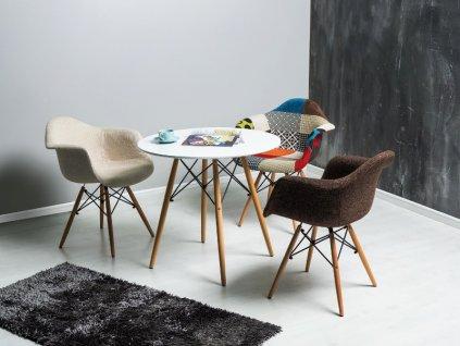 Jídelní stůl, bílá / buk, SOHO 80X80