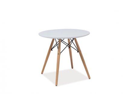Příruční stolek, bílá / buk, SOHO 60X60