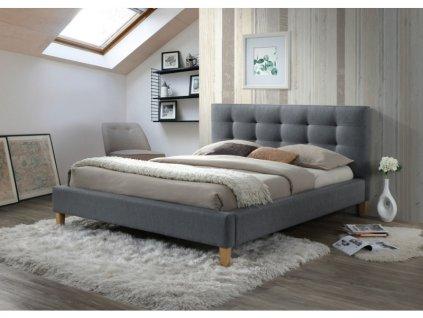 Šedá dvoulůžková postel TEXAS 140 x 200 cm