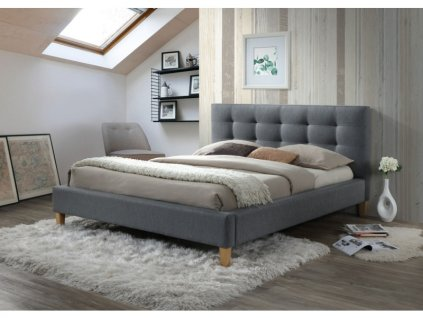 Dvoulůžková postel, šedá/dub, TEXAS 180X200