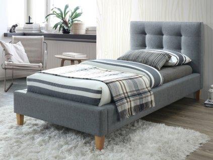 Čalouněná postel, šedá/dub, TEXAS 90X200