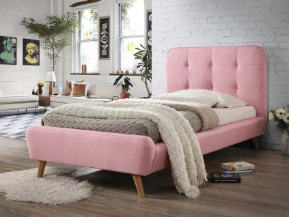 Čalouněná postel, růžová/dub, TIFFANY 90X200