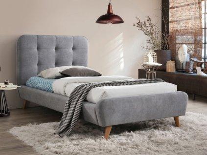 Čalouněná postel, šedá/dub, TIFFANY 90X200
