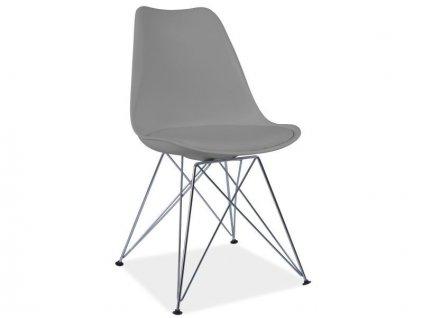 Židle, šedá / chrom, TIM
