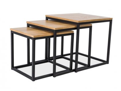 Set příručních stolků s deskou v dekoru dub TRIO