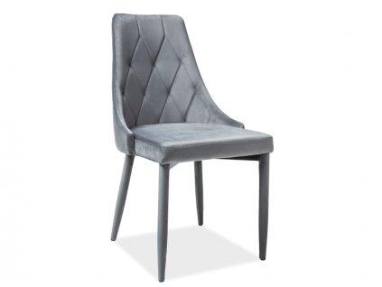 Šedá židle TRIX VELVET