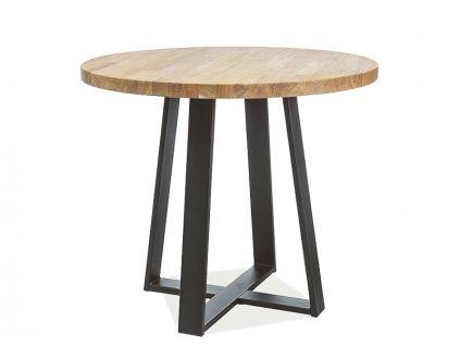 Černý jídelní stůl s dubovou deskou VASCO fi 90