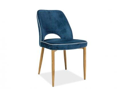 Židle, tmavě modrý samet / dub, VERDI VELVET