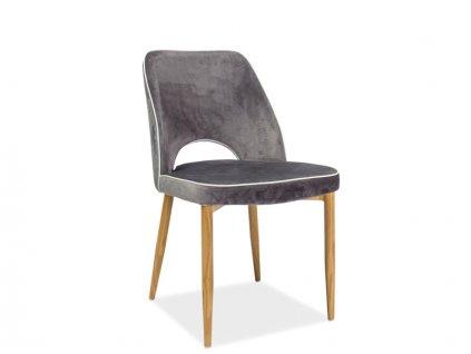 Židle, šedý samet / dub, VERDI VELVET