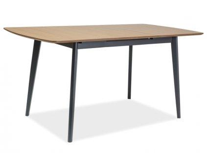 Grafitový jídelní stůl VITRO II s deskou v dekoru dub 120(160)x80, rozkládací