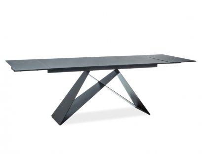 Jídelní stůl, efekt kamene / černý mat, WESTIN II (160-240)X90