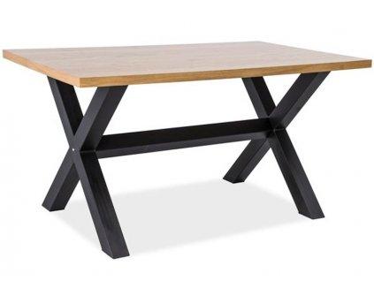 Jídelní stůl, dub / černá, XAVIERO 180x90