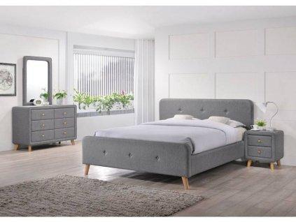 Šedá čalouněná postel MALMO 160 x 200 cm