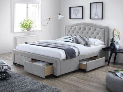 Šedá čalouněná postel ELECTRA 140 x 200 cm