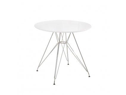 Jídelní stůl, MDF bílá extra vysoký lesk HG / chrom, RONDY