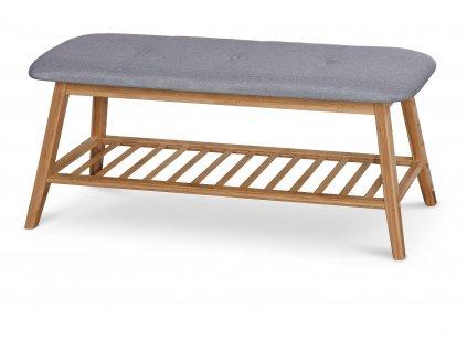 Šedá lavice s bambusovou konstrukcí ST15