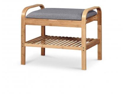 Šedá lavice s bambusovou konstrukcí ST12