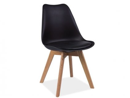 AKCE Černá židle s dubovými nohami KRIS II. jakost