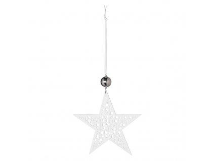 Bílá porcelánová hvězda MERRY CHRISTMAS, velká