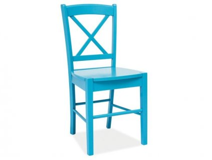 AKCE Nebesky modrá dřevěná židle CD-56 II.jakost