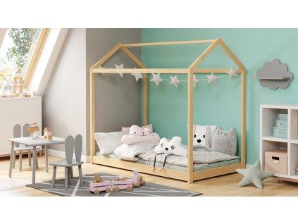 Domečková postel YOGI borovice 80 x 160 cm