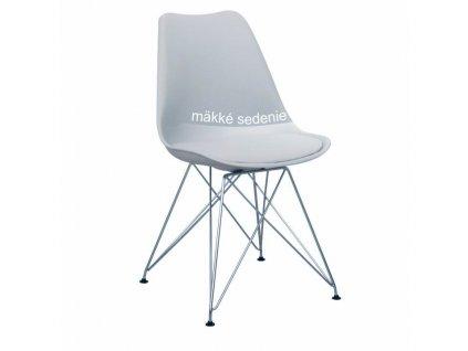 Židle, studená šedá / chrom, METAL NEW