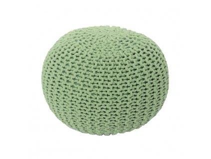 Pletený taburet, světle zelená bavlna, GOBI TYP 1