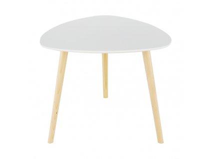 Příruční stolek, bílá / přírodní dřevo, TAVAS